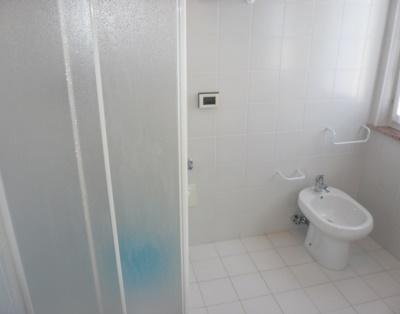 Badezimmer mit zwei Fenstern und Dusche